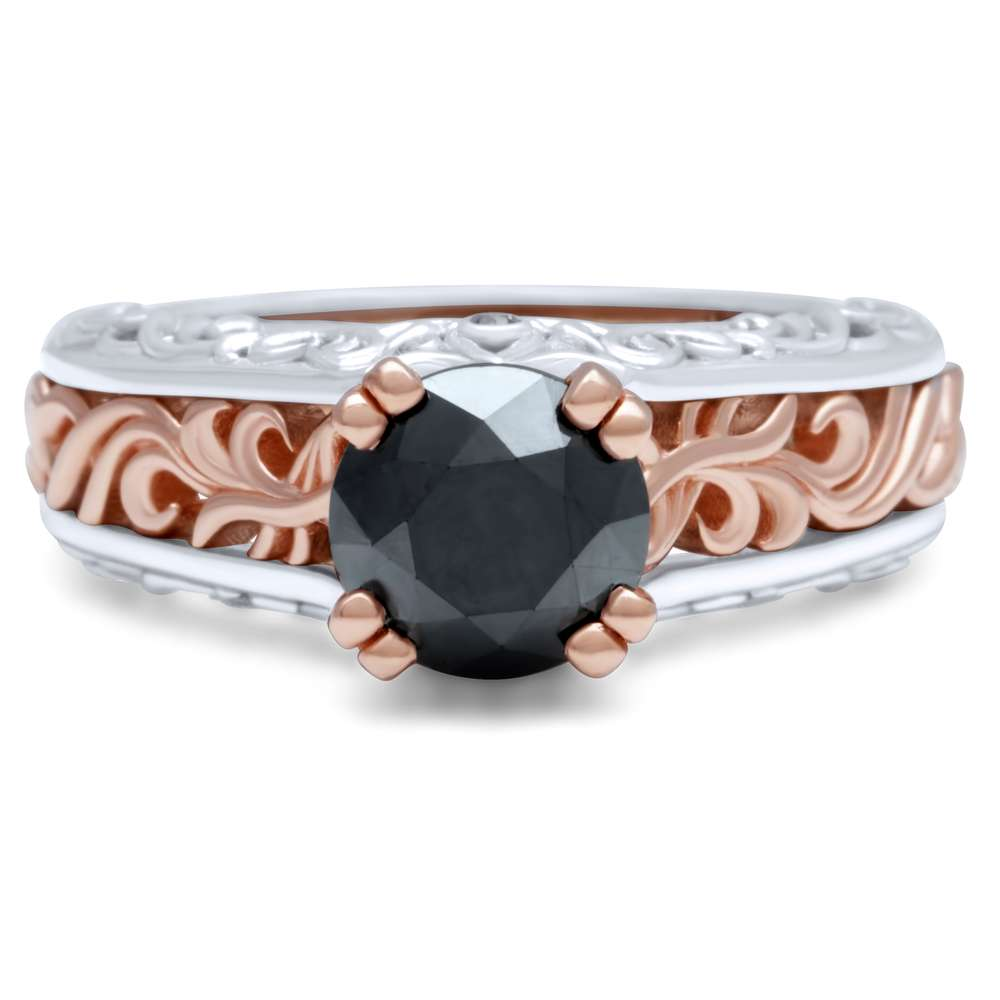 Atr Nouveau Black Diamond Engagement Ring Unusual Two Tone Gold Ring Unique Vintage Engagement Ring