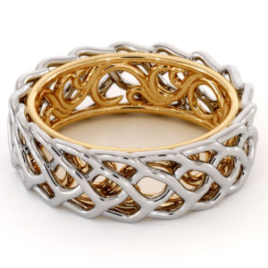 Unique Braided Men's Wedding Band Two-Tone 14K White Gold & Yellow Gold Ring