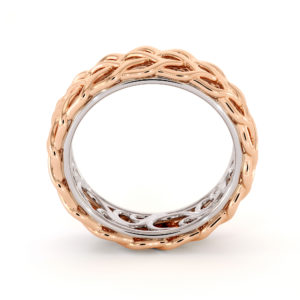 Unique Braided Men's Wedding Band Two-Tone 14K Rose Gold & White Gold Ring