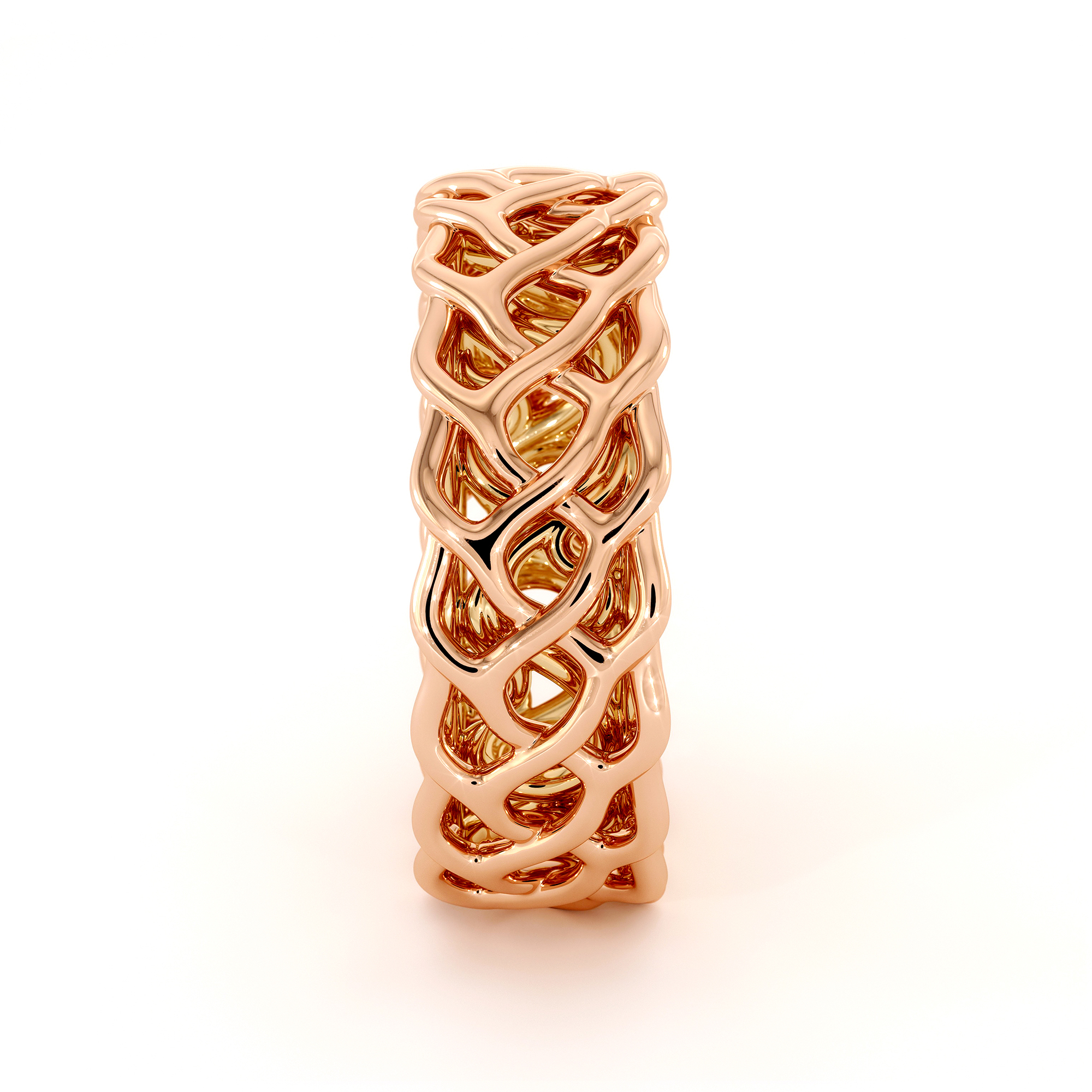 Two-Tone Unique Braided Men's Wedding Band 14K Rose Gold & Yellow Gold Ring
