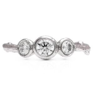 Three Stone Twig Ring Branch Diamond Engagement Ring Unique Womens Ring Natural 3 Diamond Ring