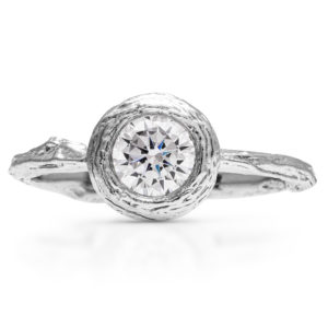 Diamond Branch Engagement Ring Unique Bezel Ring Delicate Twig Moissanite Ring Nature Organic Ring