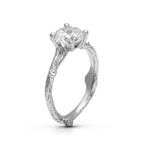 Unique Engagement Ring Organic Branch Ring Moissanite Nature Ring Alternative Engagement Ring