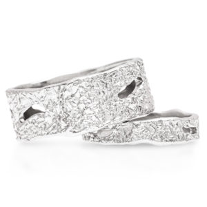 His and Hers Unique Wedding Band Set 14K White Gold Handmade Wedding Rings Couples Wedding Rings