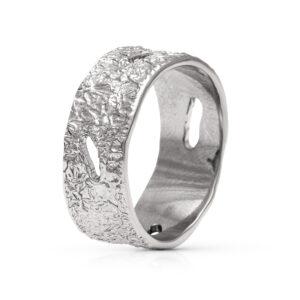 Unique Mens Wedding Band 14K White Gold Band Unique Nature Ring Alternative Men Wedding Ring