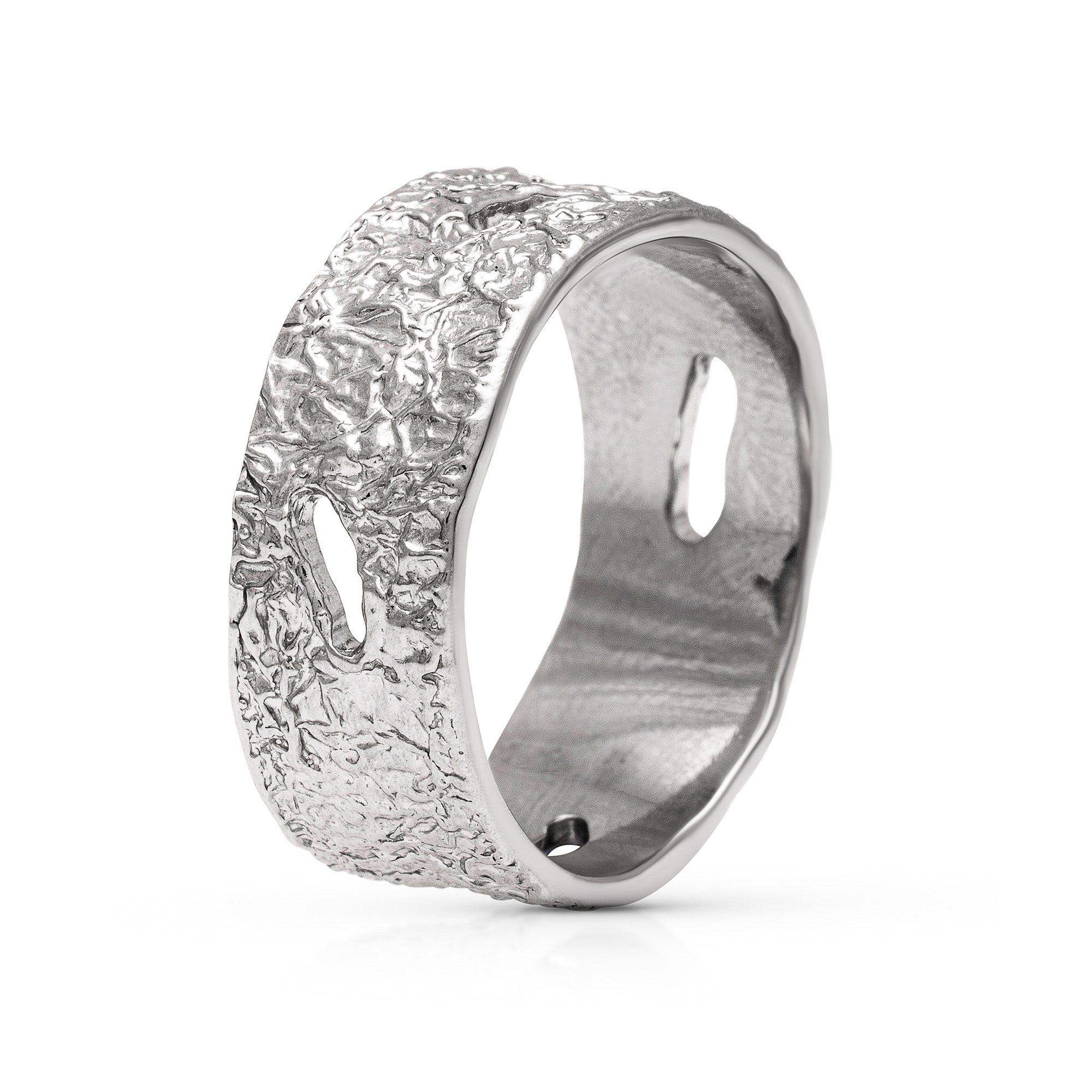 Unique Mens Wedding Band 14K White Gold Band Unique Nature Ring Alternative Men Wedding Ring