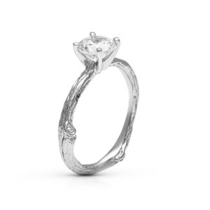 Classic Twig Engagement Ring Solitaire Moissanite Branch Ring White Gold Tree Texture Ring