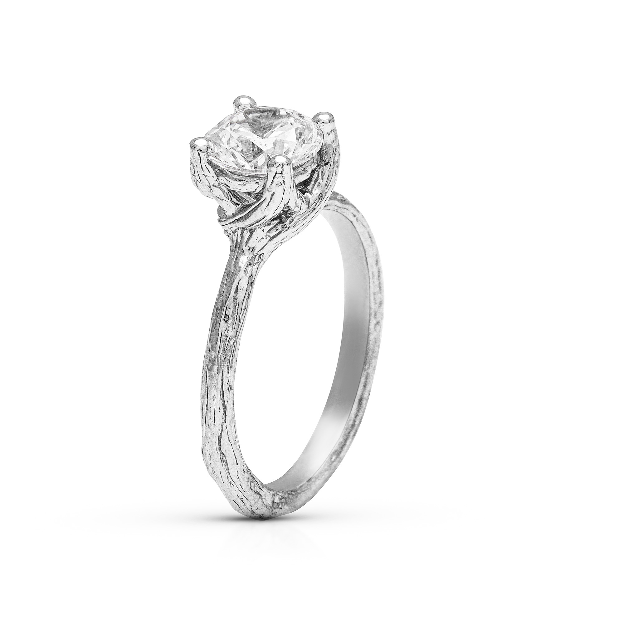 Solitaire Moissanite Branch Ring Forever One Unique Ring Natural Design Engagement Ring