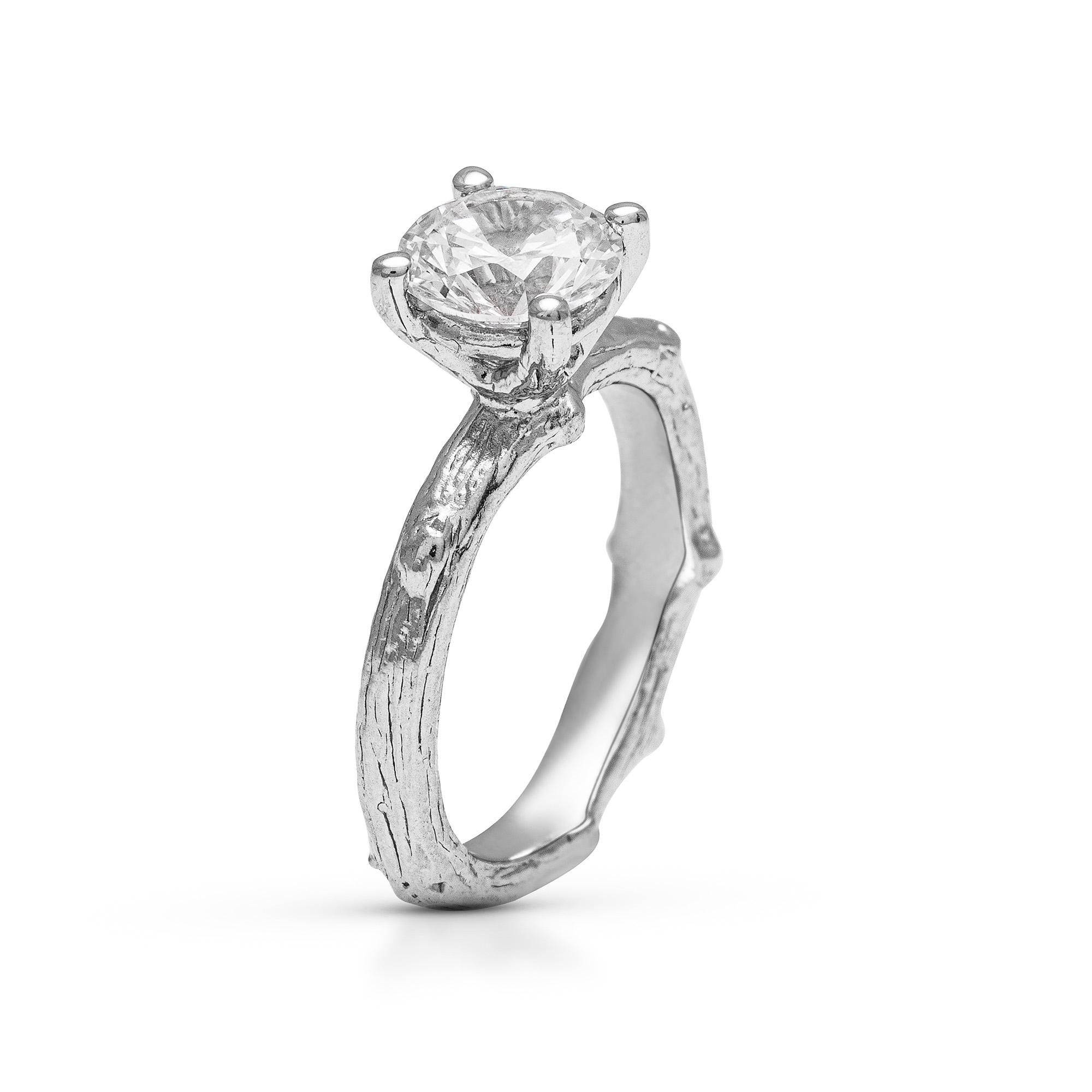 Branch Engagement Ring Moissanite Branch Ring Tree Bark Ring Gold Women's Branch Ring