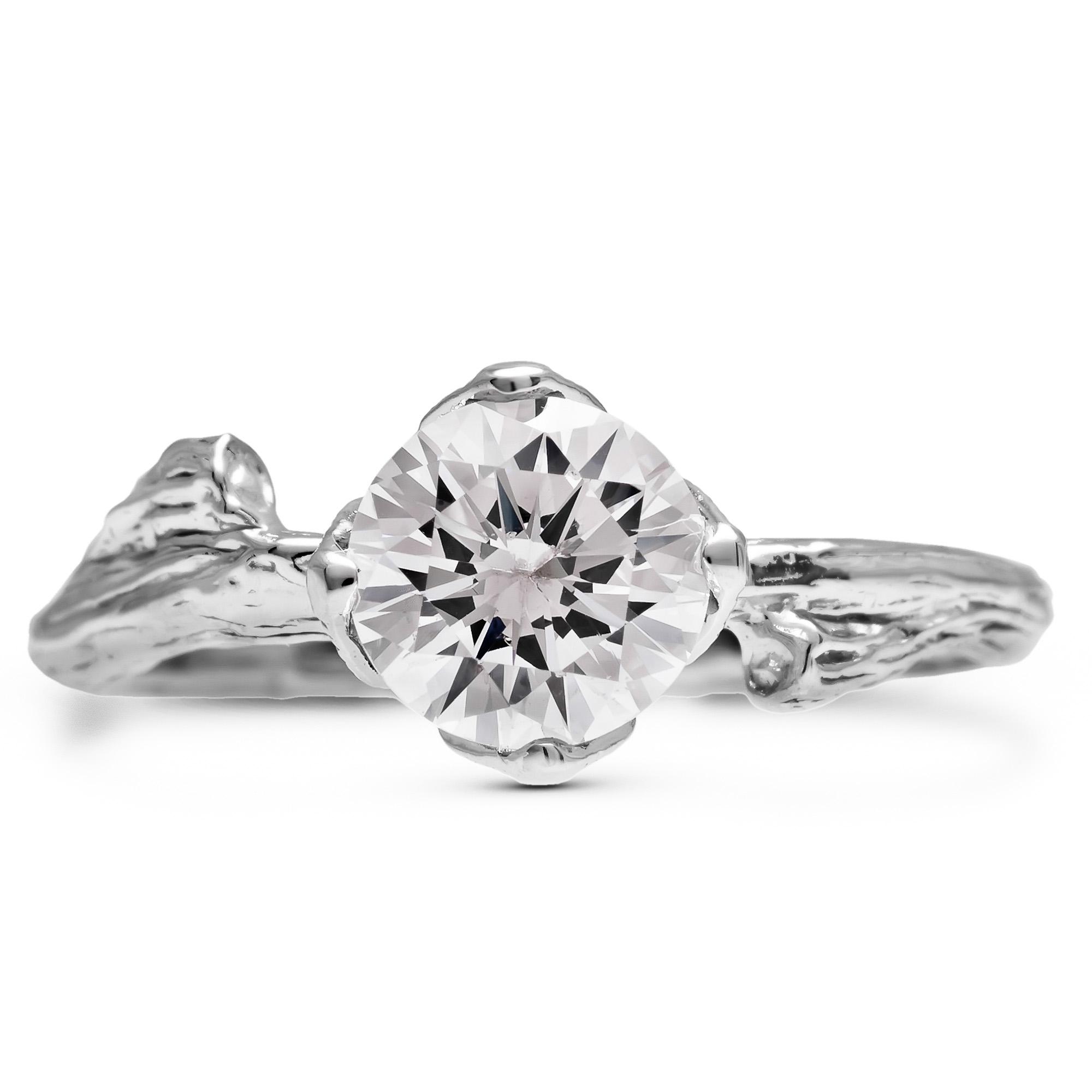 Moissanite Alternative Engagement Ring White Gold Branch and Leaf Ring Alternative Diamond Ring