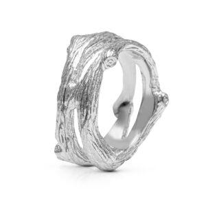 Unusual Men's Wedding Band Tree Bark Nature Inspired Ring 14K White Gold Wedding Band