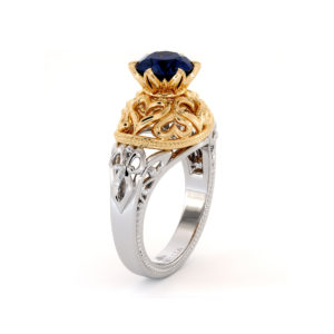 Natural Sapphire Solitaire Engagement Ring 2 Ct. Round Blue Sapphire Set In Unique Queenly 2 Tone Gold Hearts Engagement Ring
