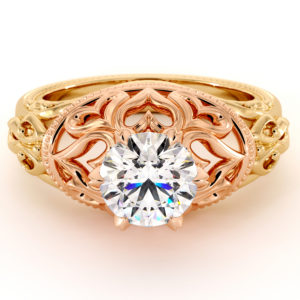 Hearts Engagement Ring Solitaire Engagement Ring 1.55 Ct. Moissanite In Unique 2 Tone Gold Queenly Bridal Ring