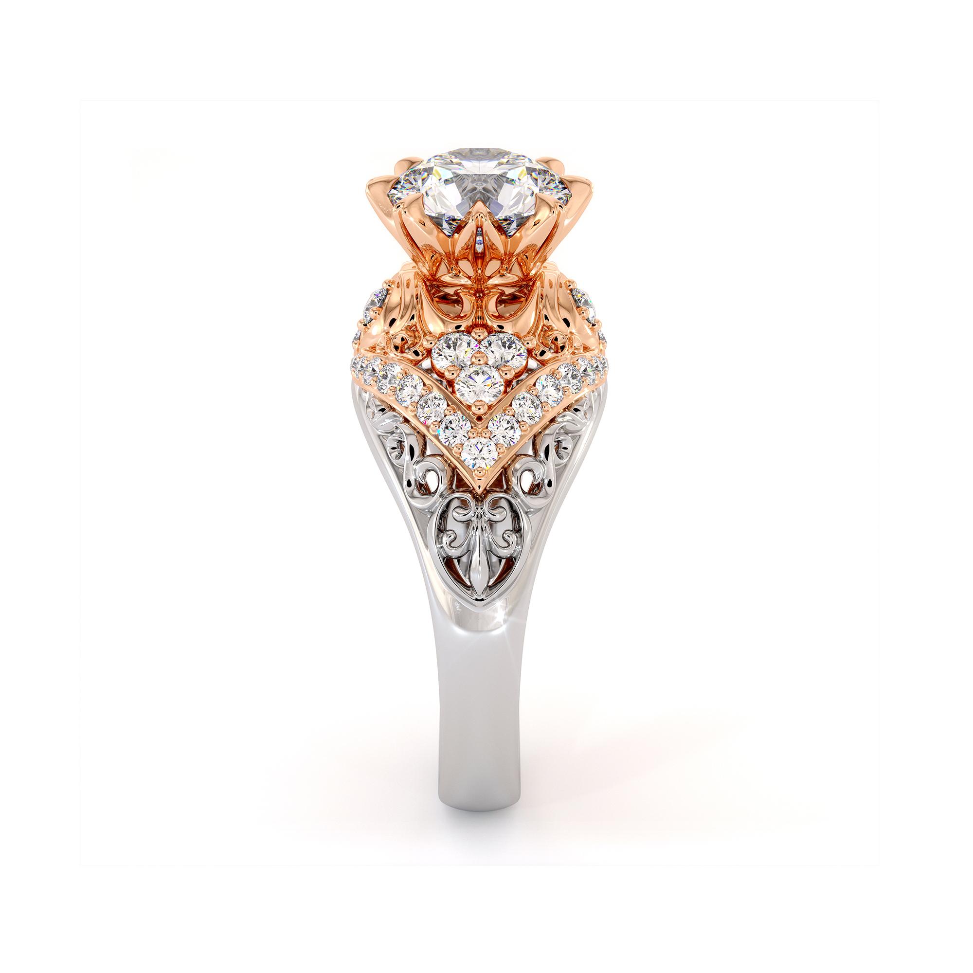 Exalted Diamonds Engagement Ring 1.55 Carat Round Moissanite Ring Two Tone Gold Engagement Ring Diamonds V Ring