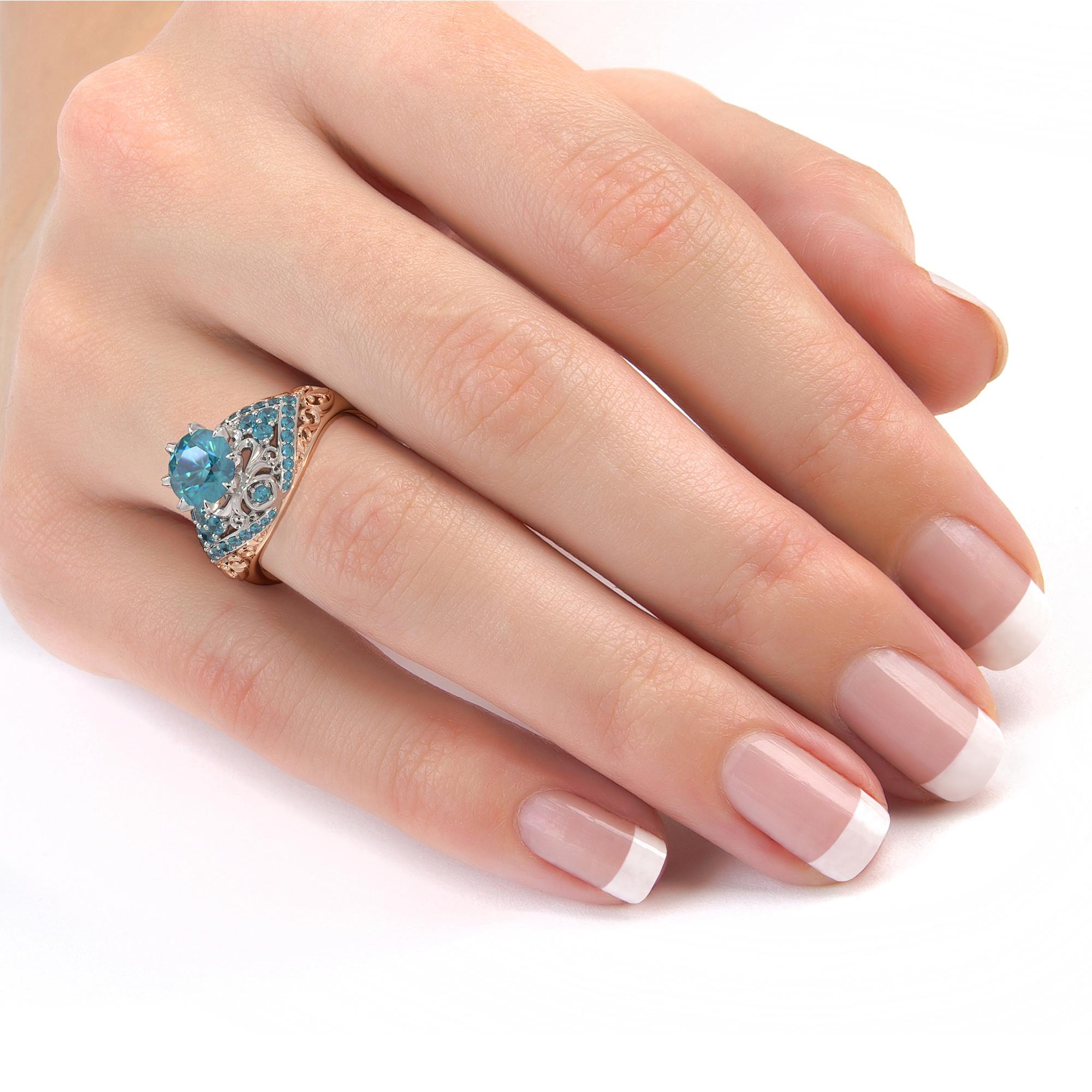 2 Carat Round Blue Diamond Engagement Ring Exalted Fleur De Lis Filigree 2 Tone Gold Ring Diamonds Engagement Ring