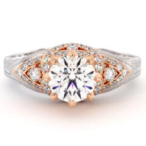 Kingly Milgrain Diamonds Engagement Ring 1.55 Ct. Round Moissanite Ring 2 Toned Gold Engagement Ring Diamonds V Ring