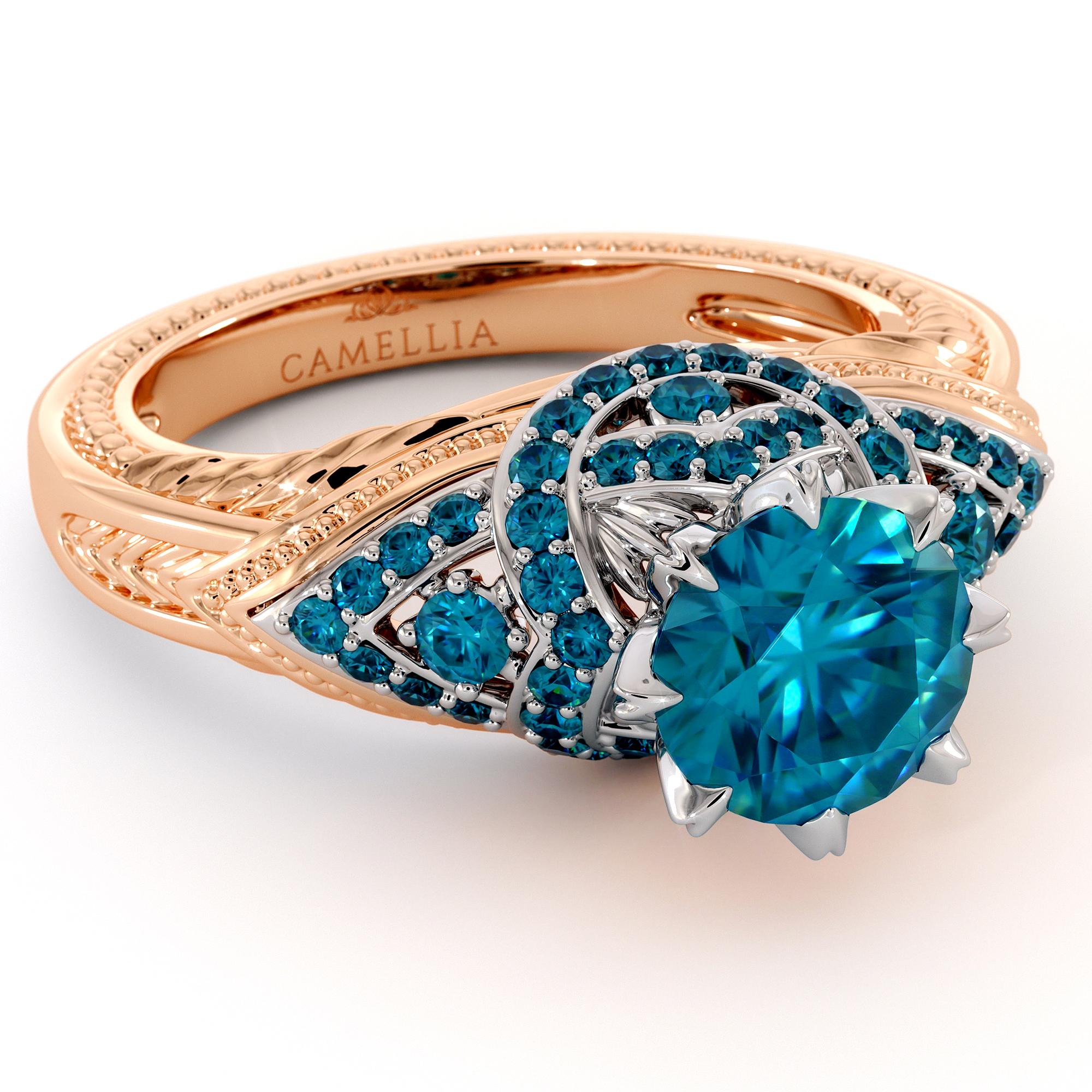 Kingly Blue Diamonds Engagement Ring 2.0 Ct. Round Blue Diamond Ring 2 Toned Gold Engagement Ring Unique Milgrain Ring