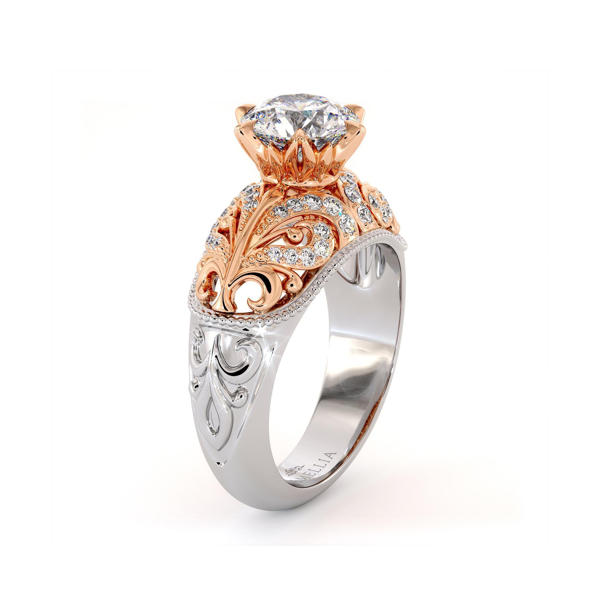 Rapids Diamonds Engagement Ring Sea Waves Ring 1.55 Ct. Round Moissanite Ring Regal 2 Tone Gold Engagement Ring