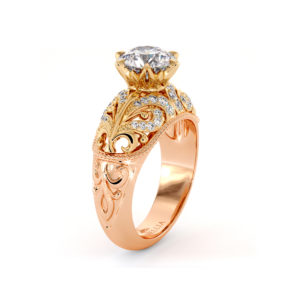 Regal Style Ring Diamond Sea Waves Engagement Ring Rapids Ring Round Moissanite Ring Unique 2 Tone Gold Engagement Ring