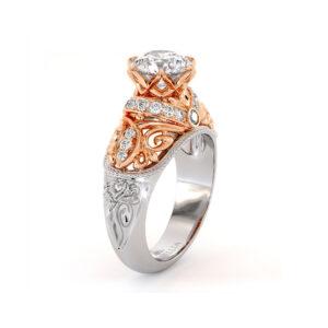 Diamonds Engagement Ring Exalted Round Moissanite Ring Grand Vizier Ring Handmade Gold Engagement Ring Diamond V Ring