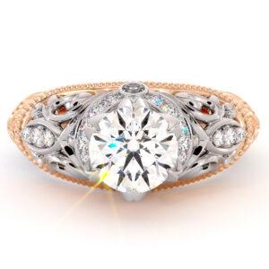 Grand Vizier Engagement Ring Exalted Round Moissanite Ring Diamonds Halo Ring Handmade 2 Tone Gold Ring Diamond V Ring