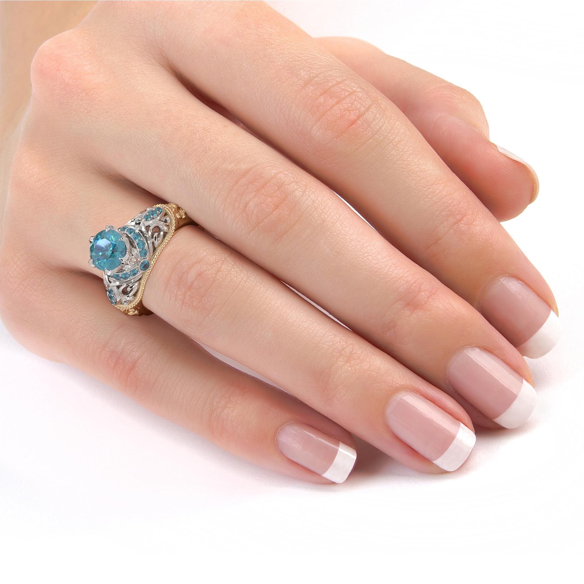 2 Carat Round Blue Diamond Engagement Ring Exalted Grand Vizier Ring Diamonds Halo Ring Handmade 2 Tone Gold Ring Diamond V Ring
