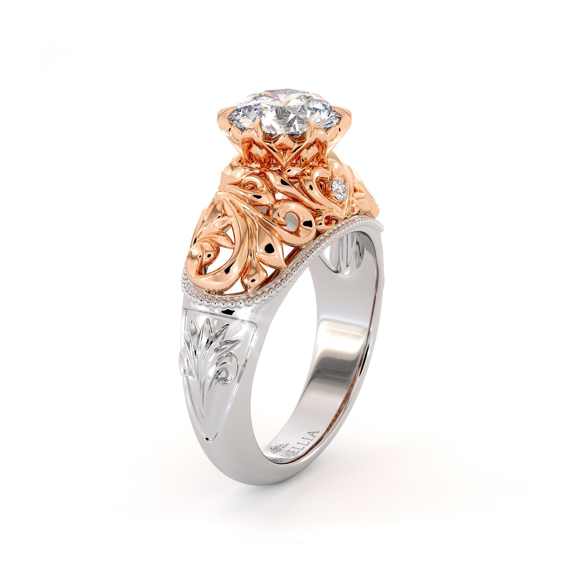 Art Nouveau Filigree Engagement Ring Royal Ring 1.55 Ct. Round Moissanite Ring Regal 2 Tone Gold Engagement Ring