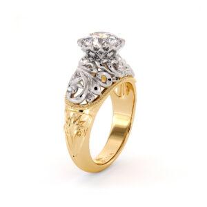 Heart Shape Filigree Engagement Ring Royal Ring 1.55 Ct. Round Moissanite Ring Regal 2 Tone Gold Engagement Ring