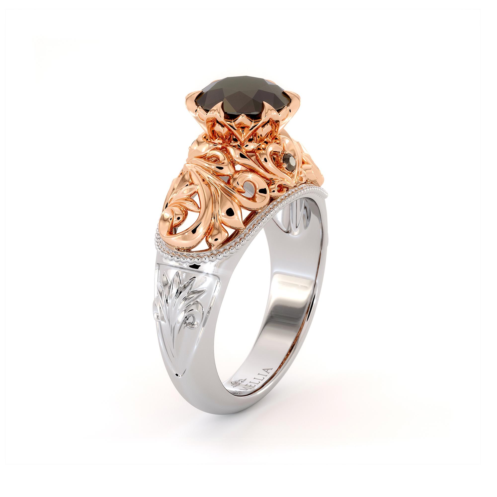 Black Diamond Royal Engagement Ring Heart Shape Filigree Engagement Ring 2 Toned Gold Ring Black Diamonds Ring