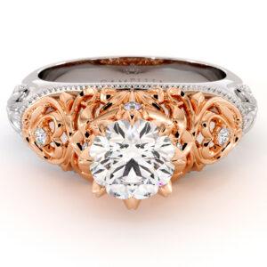 Majestic Leaves Engagement Ring Exalted Round Moissanite Ring Diamonds Ring Handmade Filigree Gold Engagement Ring