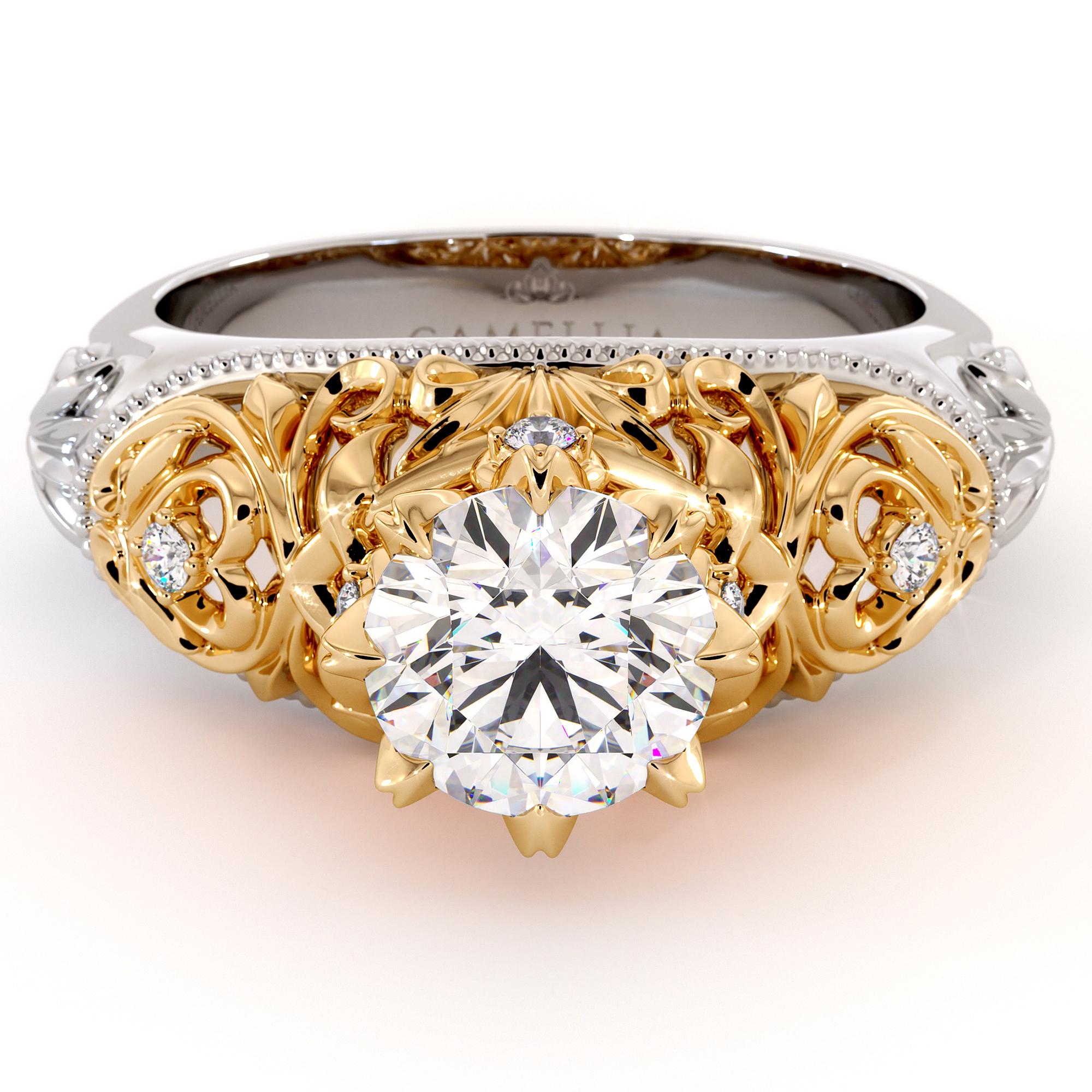 Leaves Engagement Ring Round 1.55 Ct. Moissanite Ring Diamonds Ring Majestic Heart Shape Filigree Gold Engagement Ring