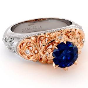Handmade Majestic Leaves Engagement Ring Exalted Blue Sapphire Ring Diamonds Ring Filigree Gold Engagement Ring