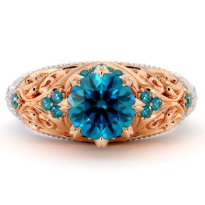 Royal Blue Diamond Engagement Ring Unique Art Nouveau Milgrain Filigree 2 Tone Gold Ring Diamonds Engagement Ring