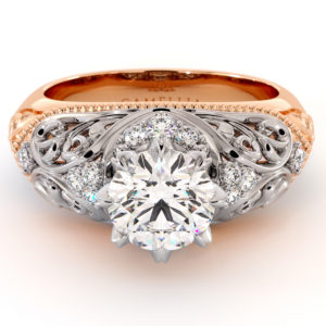 Royal Art Nouveau Moissanite Engagement Ring 1.55 Ct. Round Moissanite Ring 2 Tone Gold Milgrain Filigree Engagement Ring