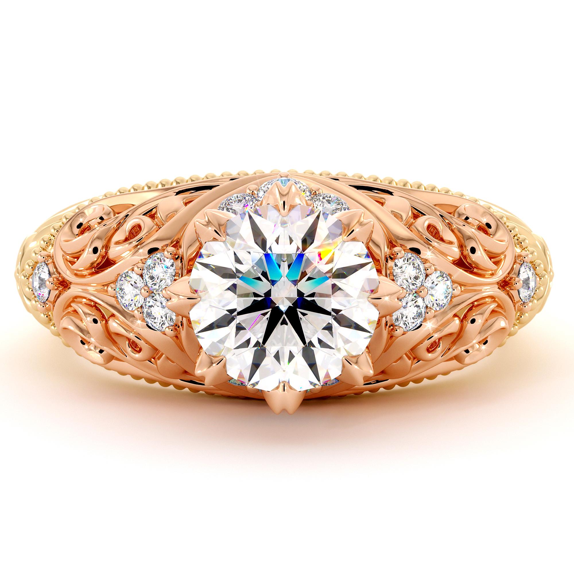 Unique Art Nouveau Moissanite Engagement Ring 1.55 Ct. Round Moissanite Ring Royal 2 Tone Gold Milgrain Filigree Engagement Ring