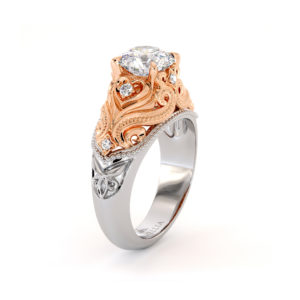 Heart Shape Love Engagement Ring Waves Ring Diamonds Ring Moissanite Ring Queenly 2 Toned Gold Engagement Ring