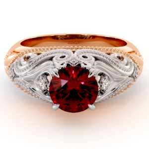 Exclusive Ruby Ring Heart Shape Love Engagement Ring Waves Ring Diamonds Ring Queenly 2 Toned Gold Engagement Ring