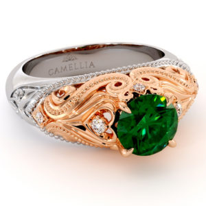 Queenly Emerald Engagement Ring Unique Two Tone Gold Ring Heart Shape Ring Milgrain Diamonds Engagement Ring