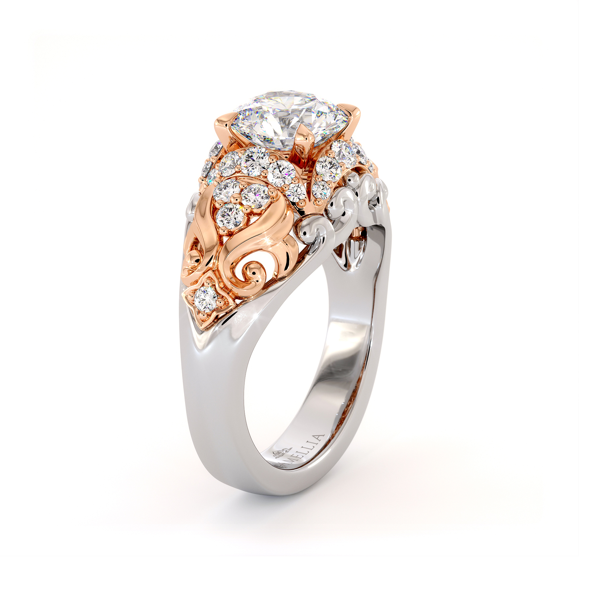Regally Diamonds Halo Engagement Ring Sea Waves Ring Round Moissanite Ring Unique 2 Tone Gold Engagement Ring