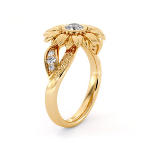 Unique Engagement Ring Natural Diamond Ring 14K Solid Gold Ring Sunflower Engagement Ring Camellia Jewelry