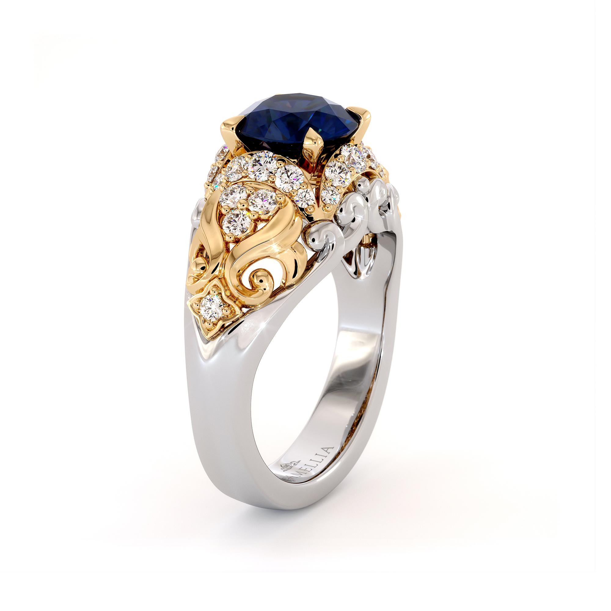 Diamonds Halo Blue Sapphire Engagement Ring Sea Waves Ring Round 2 Carat Sapphire Ring Unique 2 Tone Gold Engagement Ring