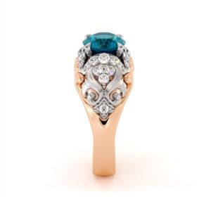 2 Carat Blue Diamond Regal Engagement Ring Exalted Sea Waves 2 Tone Gold Ring Diamonds Halo Engagement Ring