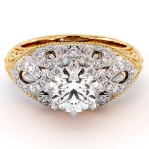 2 Toned Gold Engagement Ring Plenty Milgrain Gold Drops Ring 1.55 Ct. Round Moissanite Ring Regal Diamonds Engagement Ring