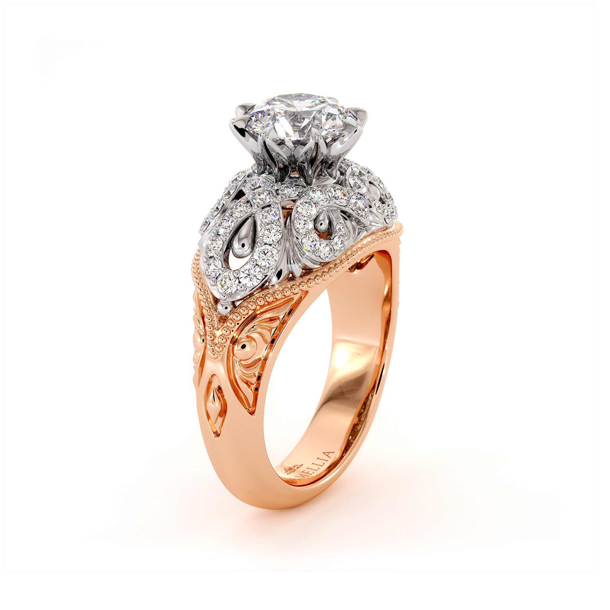 Plenty 2 Tone Gold Engagement Ring Milgrain Gold Drops Ring 1.55 Ct. Round Moissanite Ring Regal Diamonds Engagement Ring