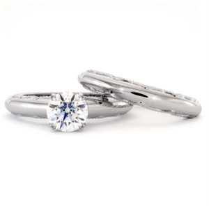 Queenly Moissanite Engagement Ring Set 14K White Gold Rings Unique Bridal Set Anniversary Gift
