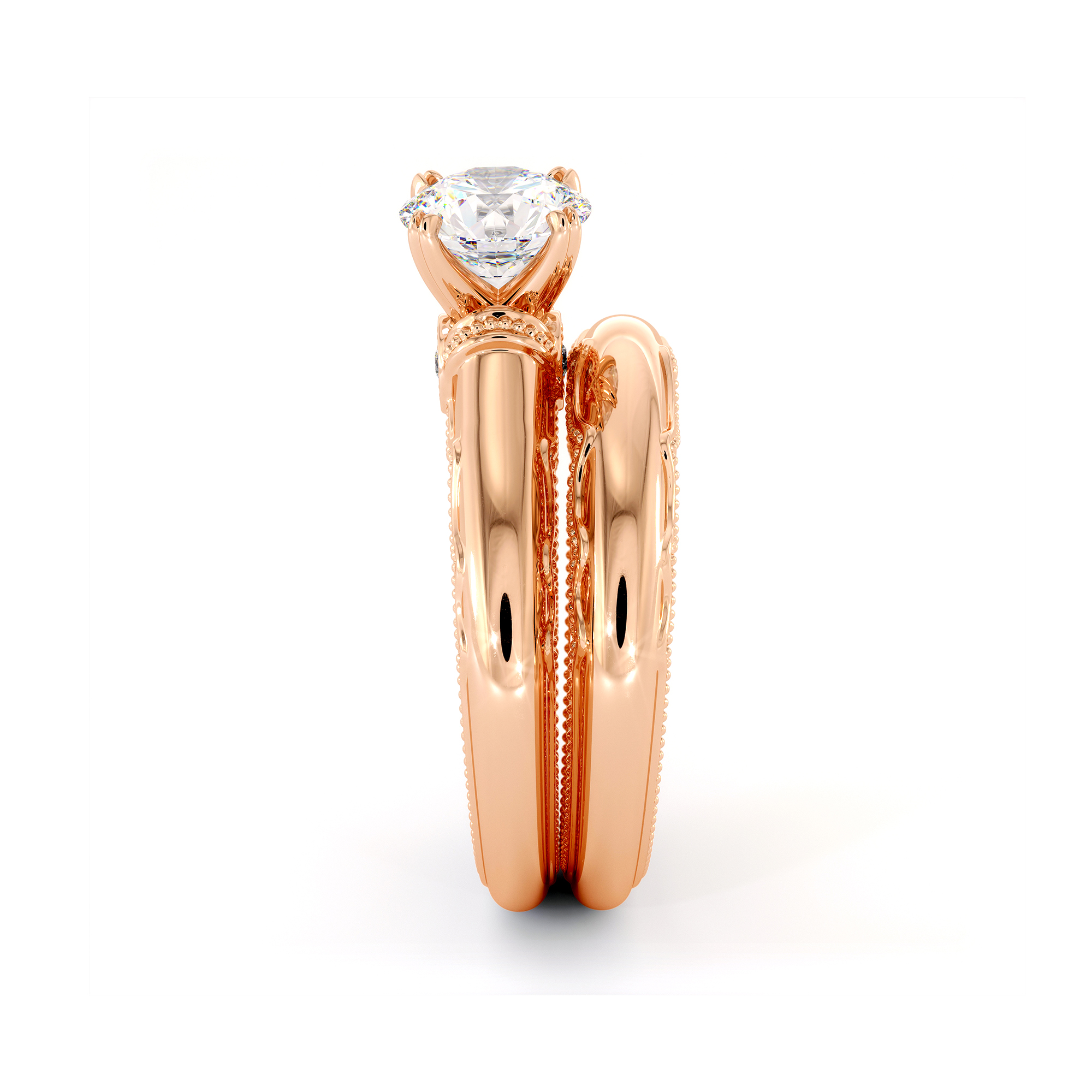Queenly Bridal Set Moissanite Engagement Ring Set 14K Rose Gold Rings Unique Anniversary Gift