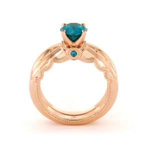 Blue Diamond Bridal Set Queenly Diamonds Engagement Ring Set 14K Rose Gold Rings Unique Anniversary Gift