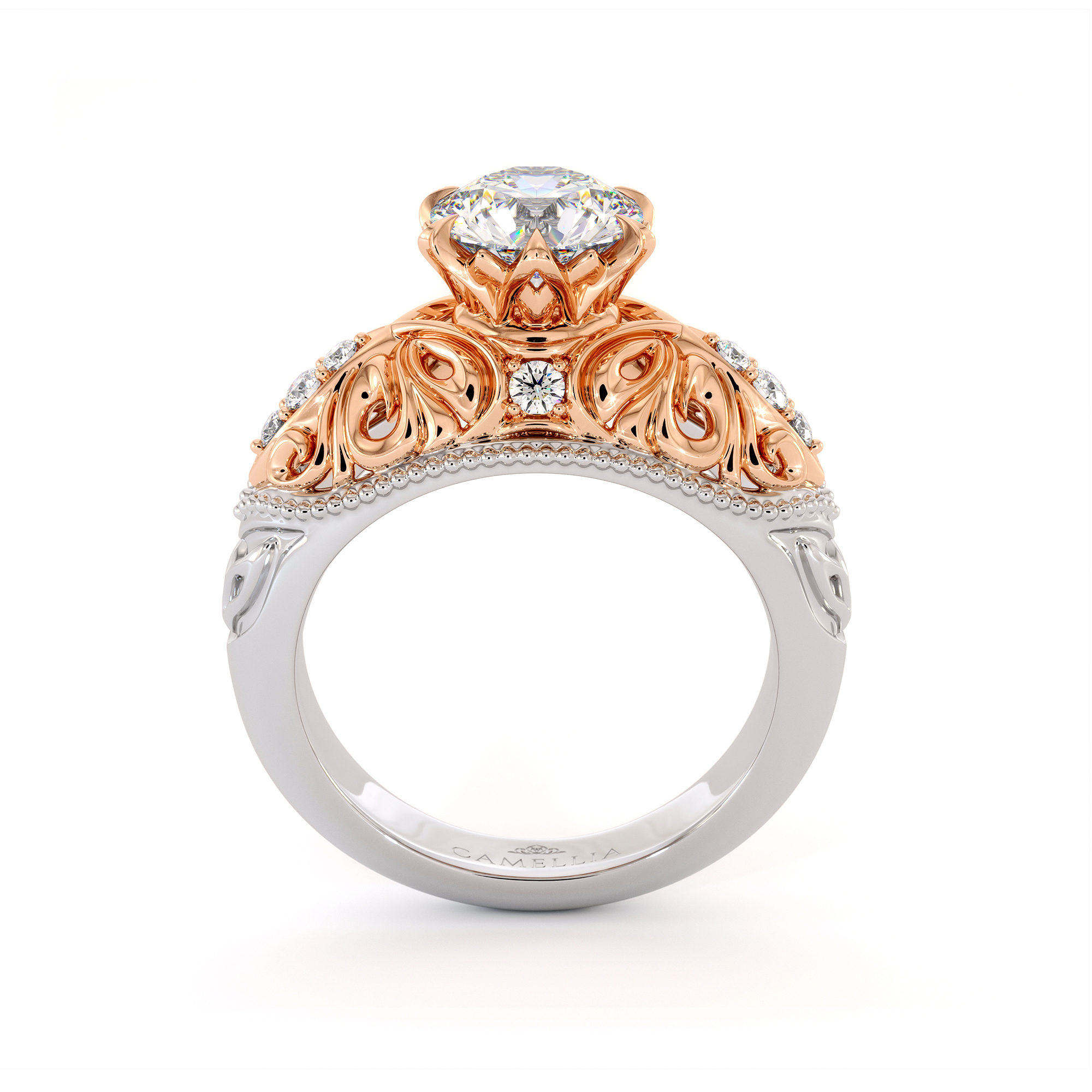 Particular Leaves Engagement Ring Exalted Moissanite Ring Natural Side Diamonds Ring Handmade Filigree Gold Engagement Ring