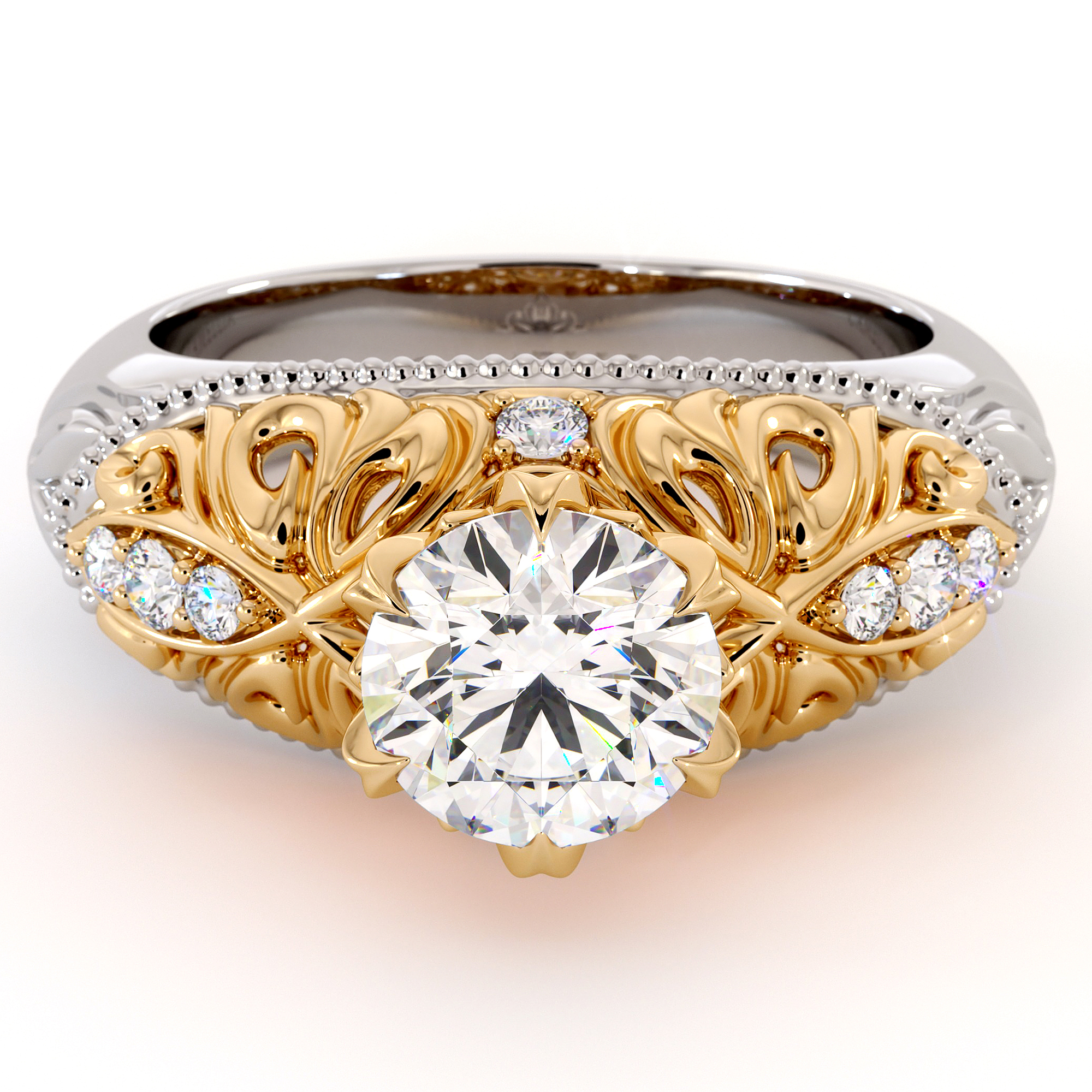 Exalted Leaves Engagement Ring Particular Moissanite Ring Natural Side Diamonds Ring 2 Toned Filigree Gold Engagement Ring