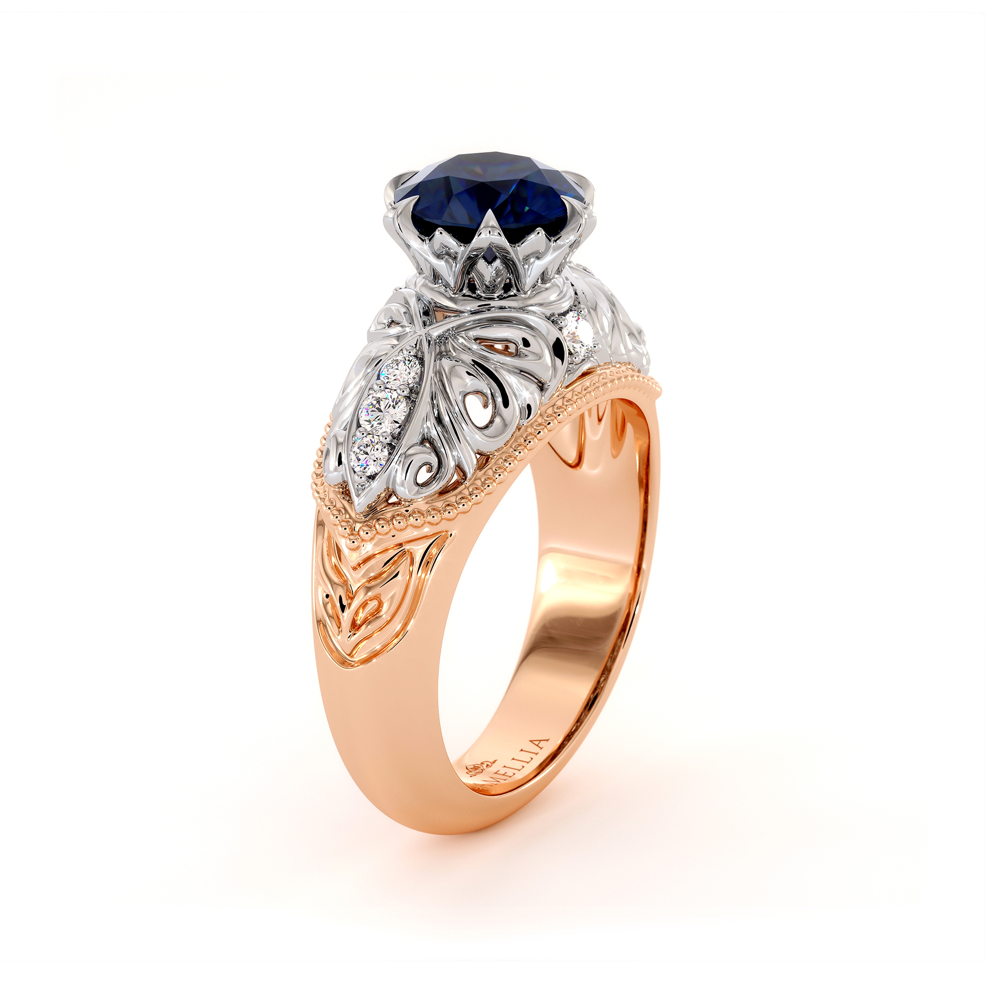 Handmade Blue Sapphire Ring 2 Toned Filigree Gold Engagement Ring Leaves Ring Particular Natural Diamonds Ring
